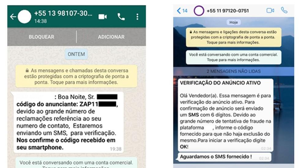 Mensagens enviadas pelos criminosos para tentar roubar o código de autenticação do usuário e fazer um WhatsApp clonado — Foto: Reprodução/Kaspersky Lab