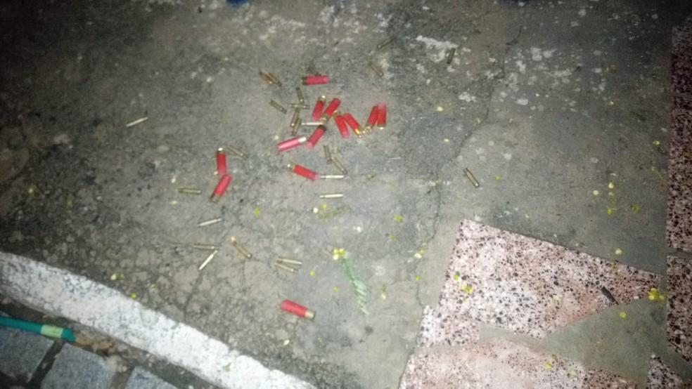 Capsulas de armas encontradas após ataque a banco e lotérica em São Tomé, no RN. — Foto: Redes sociais