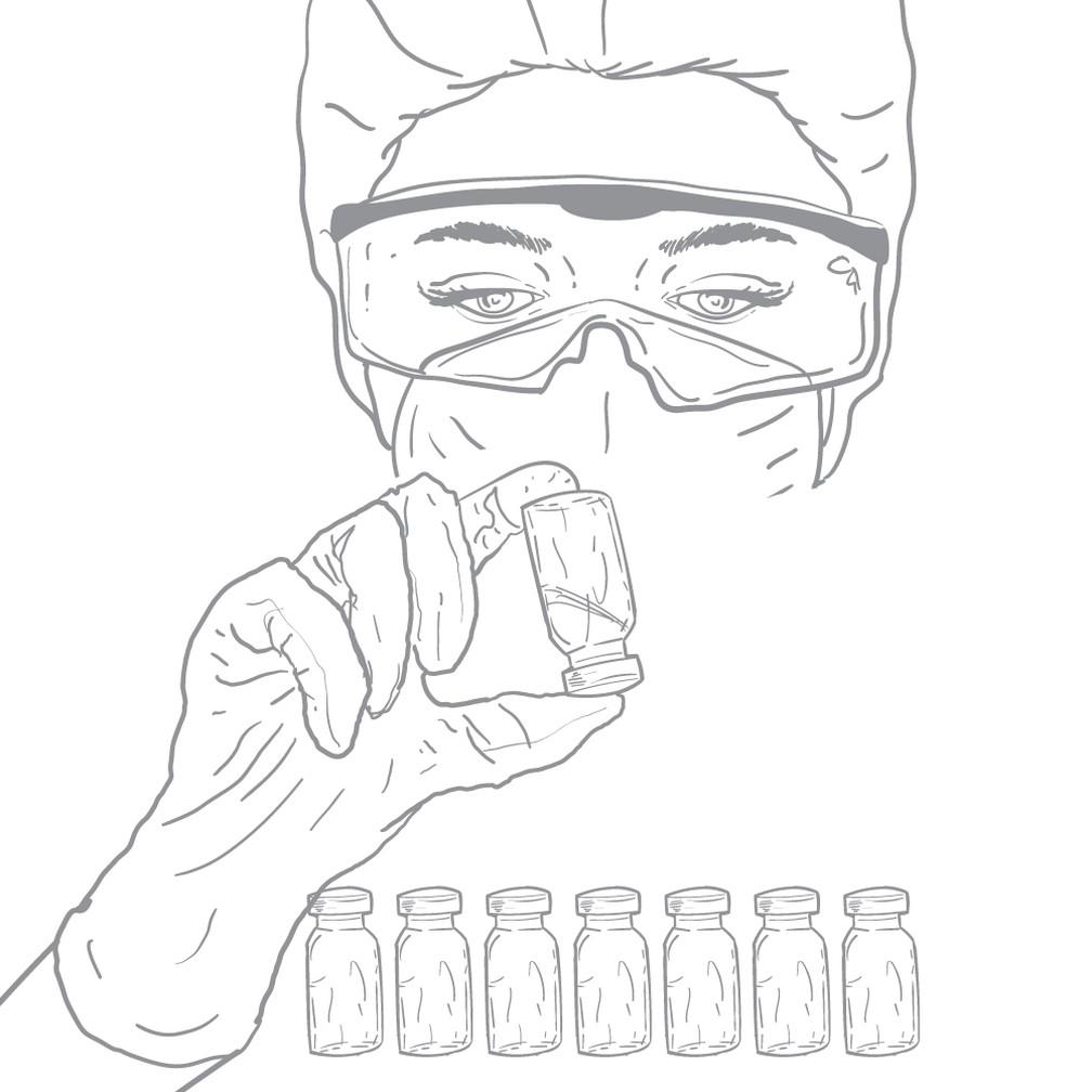 Ilustração mostra cientista segurando ampolas de vacinas contra o coronavírus — Foto: Arte G1