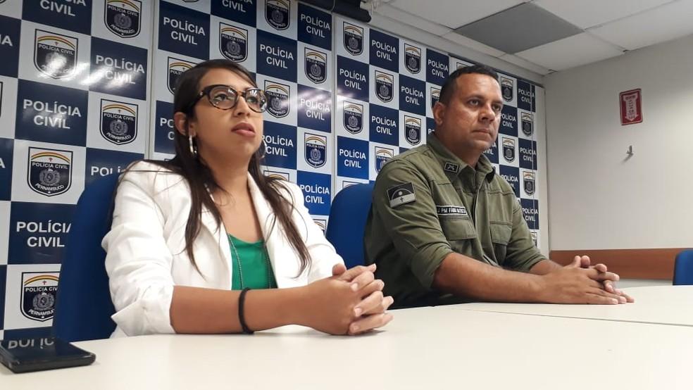 Delegada Bárbara Fort e major Fábio Batista participaram de coletiva, nesta quinta (24), e falaram sobre o crime  — Foto: Polícia Civil/Divulgação