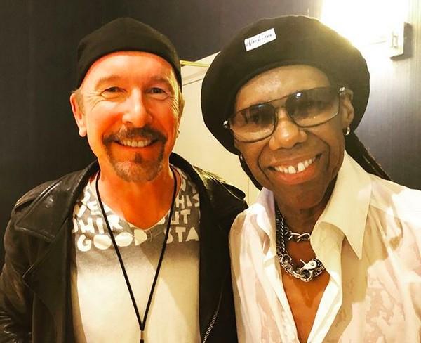O músico Nile Rodgers com o guitarrista do U2 The Edge (Foto: Instagram)