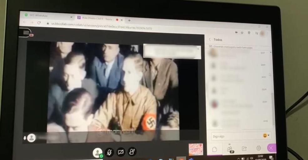 Aula online é interrompida com imagens nazistas em Sorocaba — Foto: Arquivo Pessoal