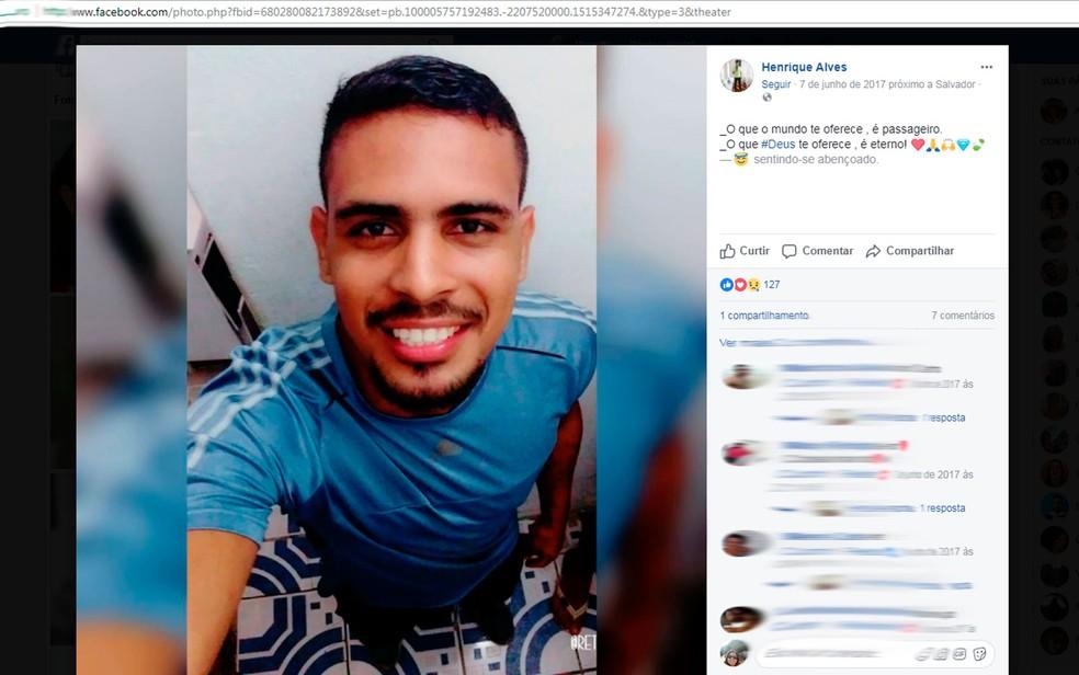 Motorista de Uber de 24 anos é morto a tiros em Salvador (Foto: Reprodução/Facebook)