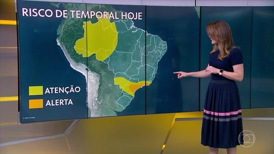 Temporais podem atingir principalmente SP, RJ, sul de MG, parte do PR e Vale do Itajaí, SC
