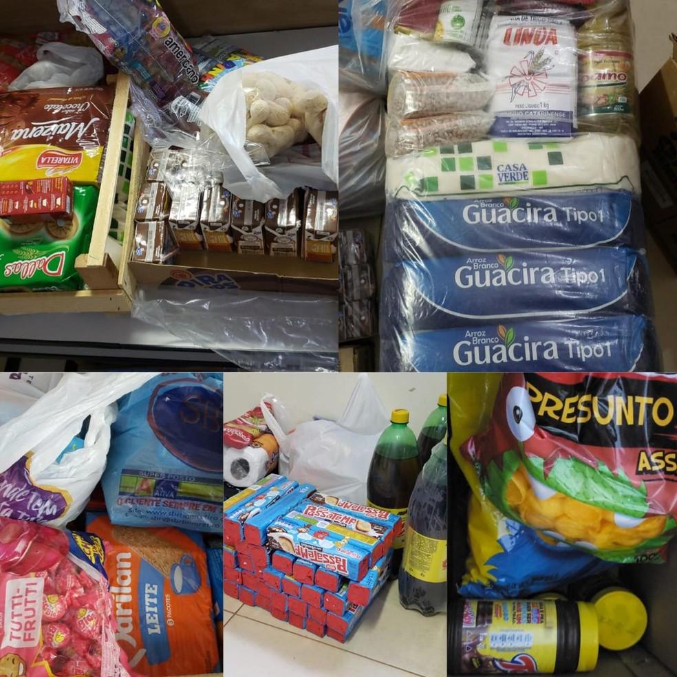 Alimentos arrecadados para crianças carentes em MS — Foto: Montagem/G1 MS