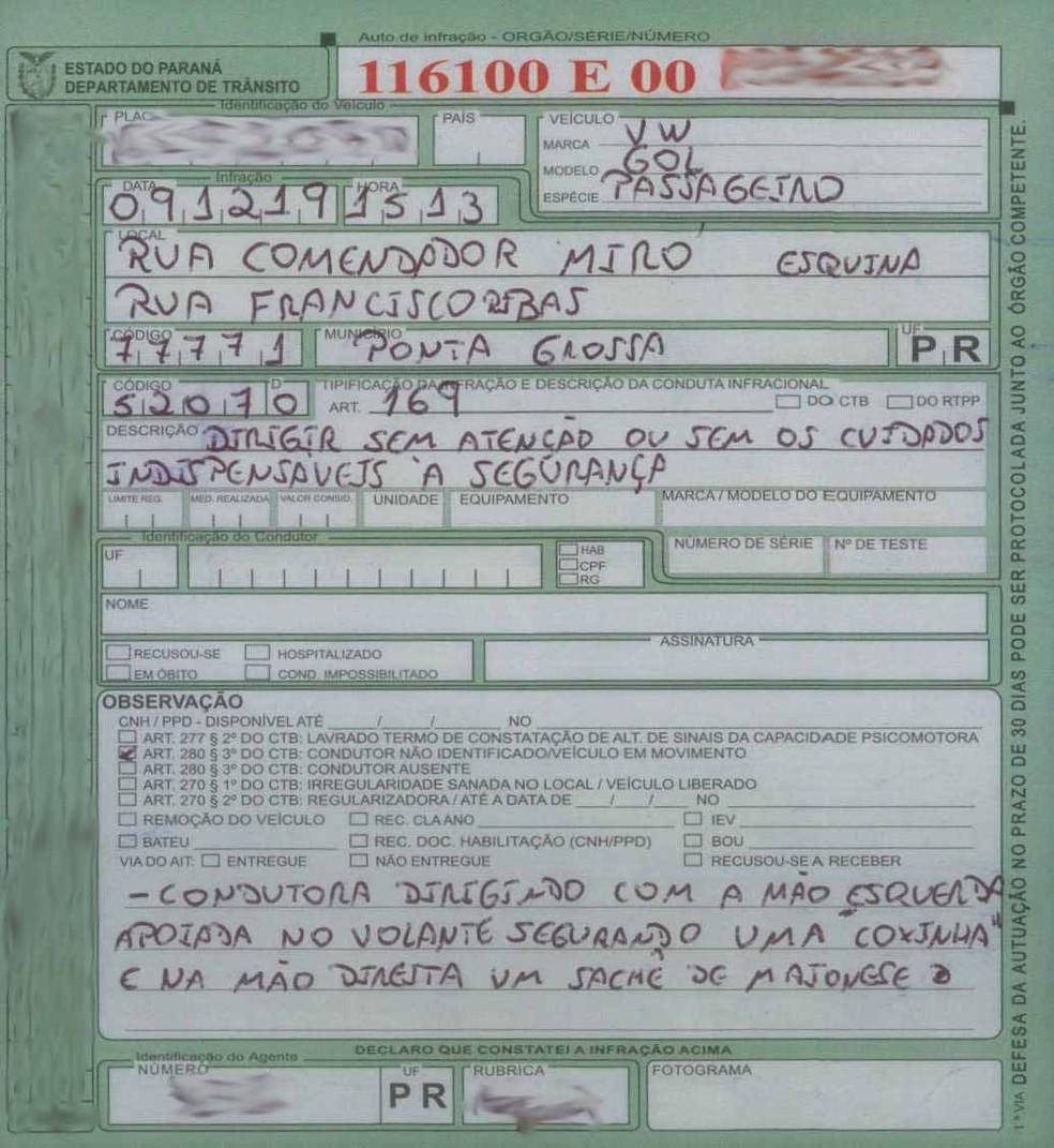 Motorista foi multada pelo Artigo 169, do CTB — Foto: Detran-PR/Divulgação