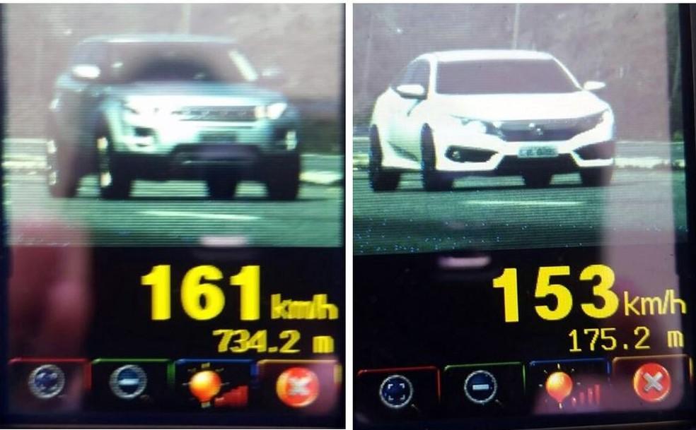 Carros estavam em alta velocidade neste final de semana  (Foto: PRF/Divulgação)
