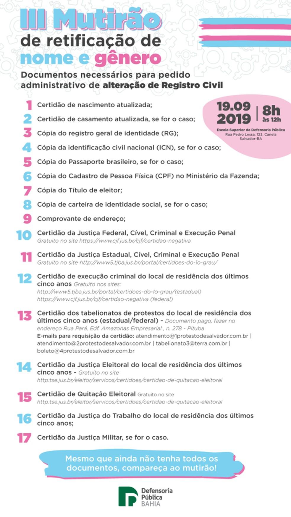 Lista de documentos para retificação de nome e gênero em mutirão da Defensoria Pública da Bahia — Foto: Divulgação