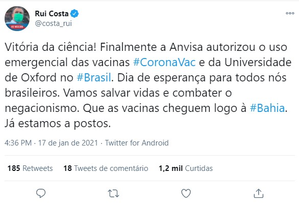 Rui Costa diz que aprovação do uso emergencial das vacinas contra a Covid-19 foi uma 'vitória da ciência'