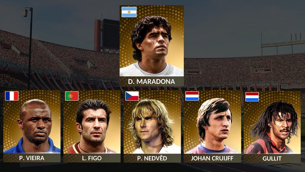 Maradona e outros craques do passado fecham a lista de PES 2019 (Foto: Reprodução/Murilo Molina)