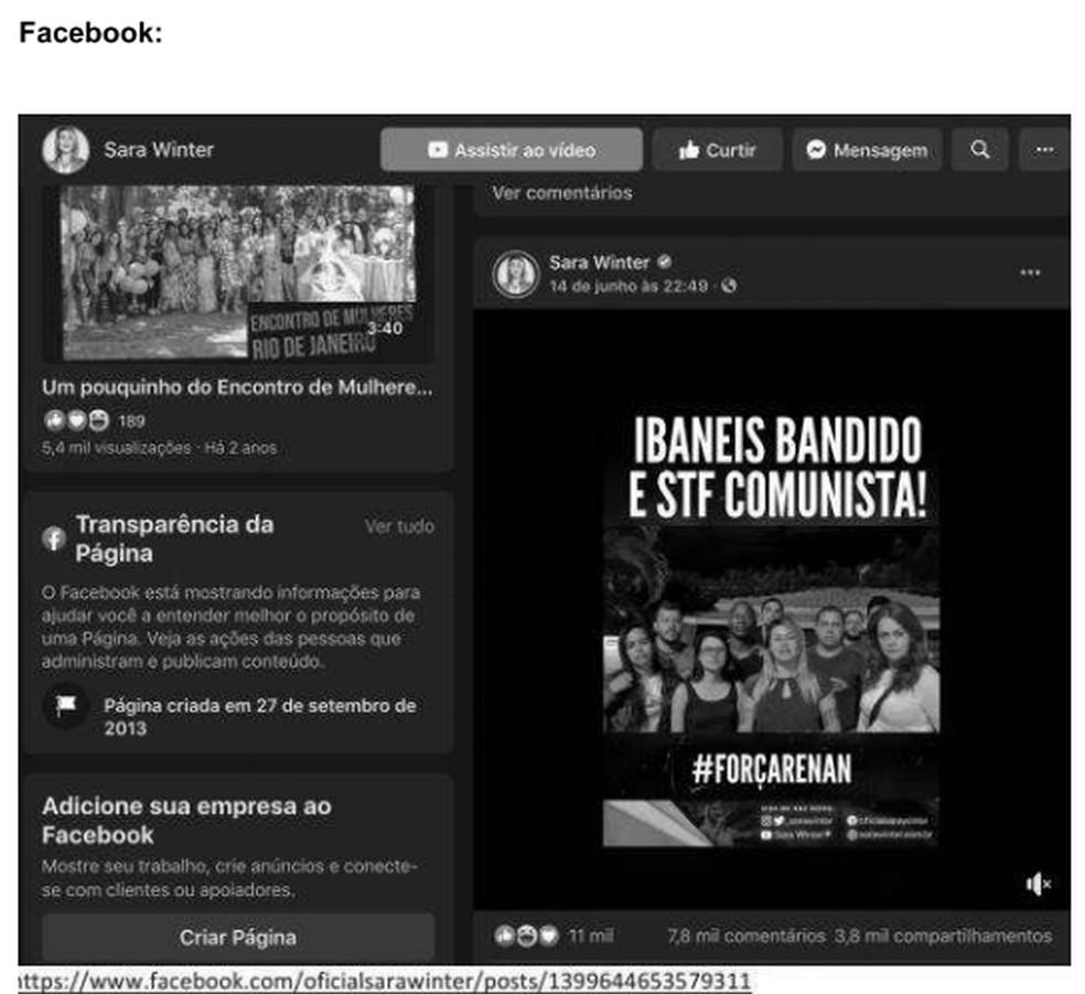Publicação feita por Sara Giromini nas redes sociais com ataques a Ibaneis e ao STF; imagem anexada ao processo — Foto: Reprodução