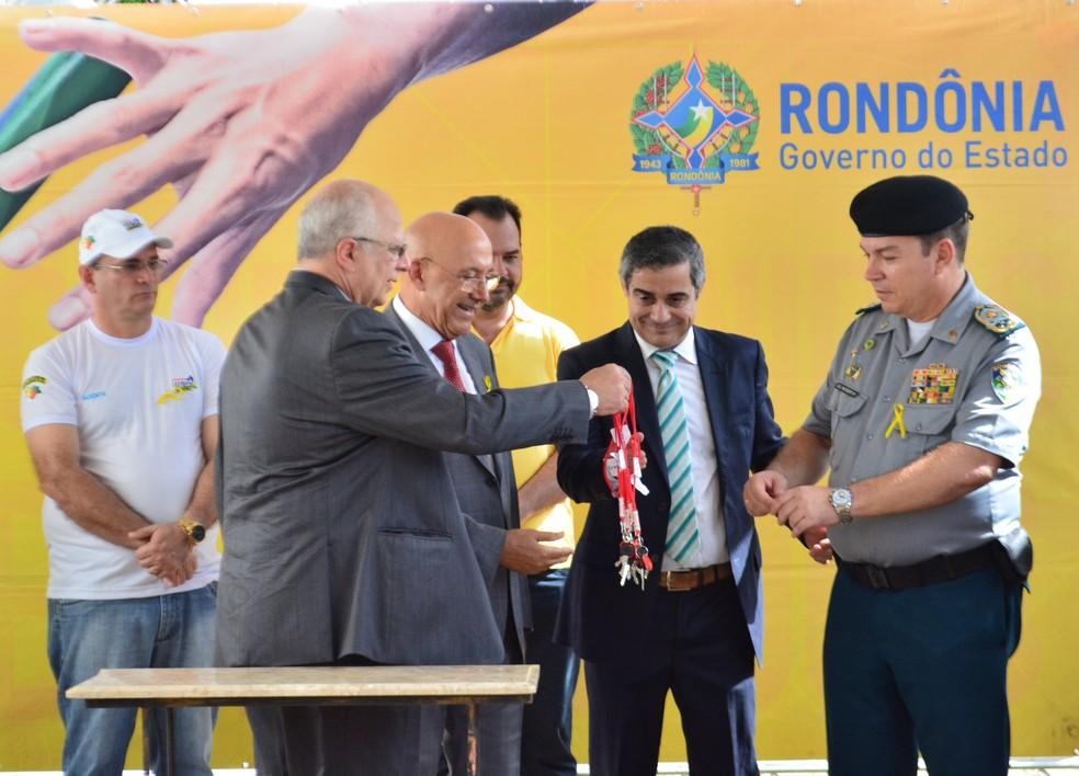 Durante lançamento de Campanha Maio Amarelo motocicletas foram entregues para a PM de Rondônia (Foto: Hosana Morais/G1)