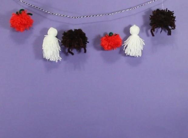 Especial Halloween: Cordão de pompons para o dia das bruxas (Foto: Casa e Jardim)