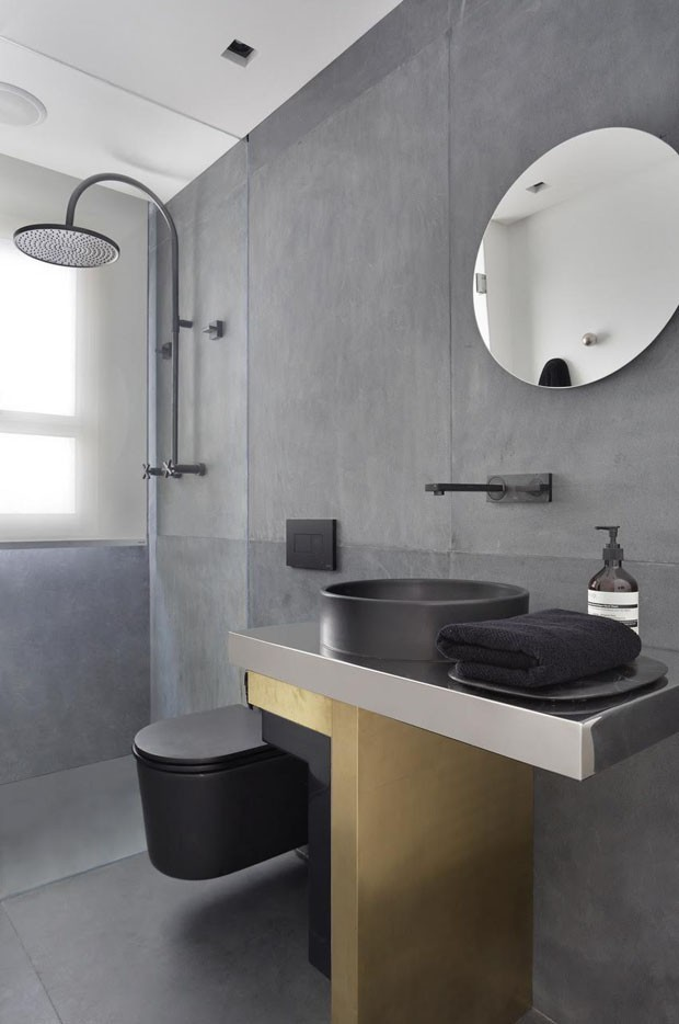 Décor do dia: banheiro cinza e minimalista (Foto: Denilson Machado)