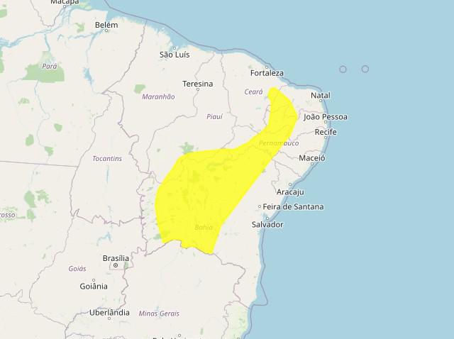 Inmet emite alerta amarelo de baixa umidade para 86 municípios da Paraíba