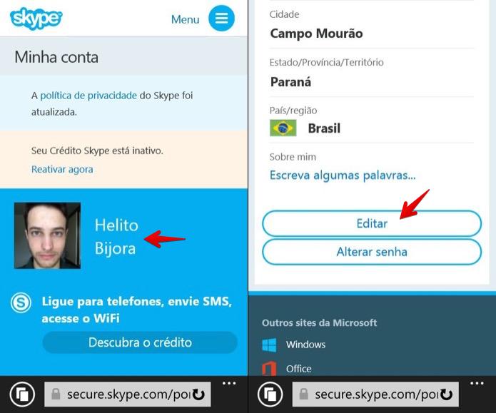 Editando perfil do Skype (Foto: Reprodução/Helito Bijora)