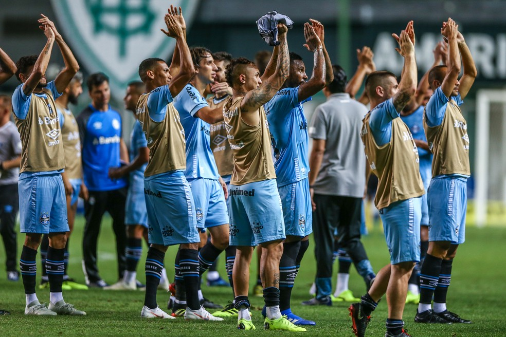 Vitória sobre o Atlético-MG foi fundamental para pretensões gremistas — Foto: Lucas Uebel / Grêmio / Divulgação