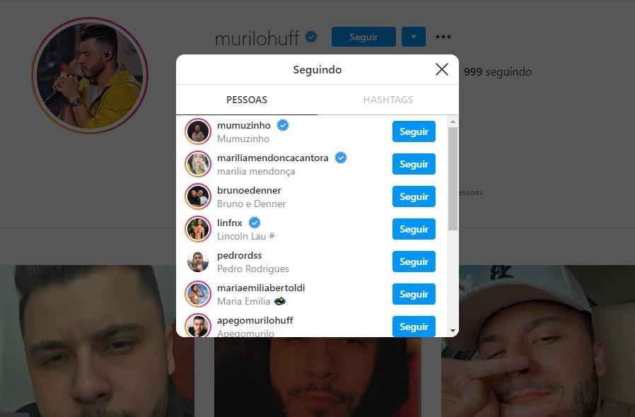 Murilo Huff também seguiu Marília Mendonça novamente após o fim da relação (Foto: Reprodução/Instagram)