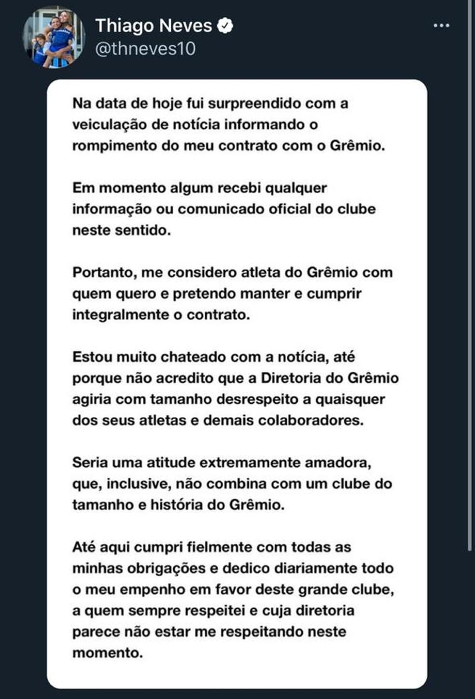 Thiago Neves se manifesta sobre rescisão de contrato com o Grêmio — Foto: Reprodução/Twitter Thiago Neves