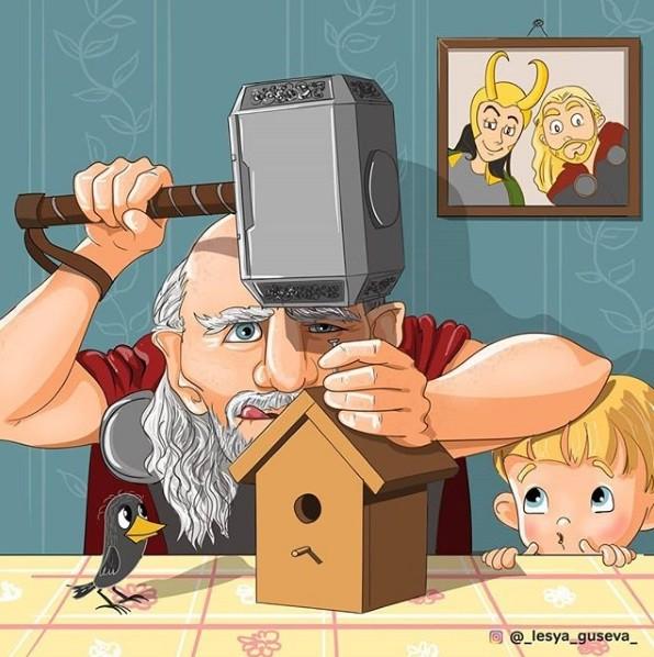 Ilustração do Thor envelhecido (Foto: Instagram/_lesya_guseva_)