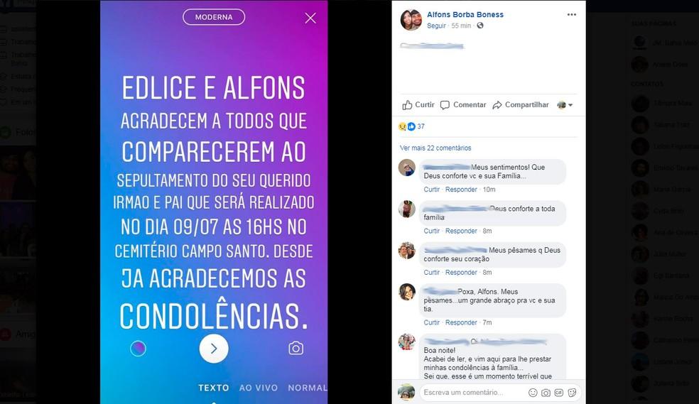Enterro da vítima será no cemitério do Campo Santo, em Salvador (Foto: Reprodução/Facebook)