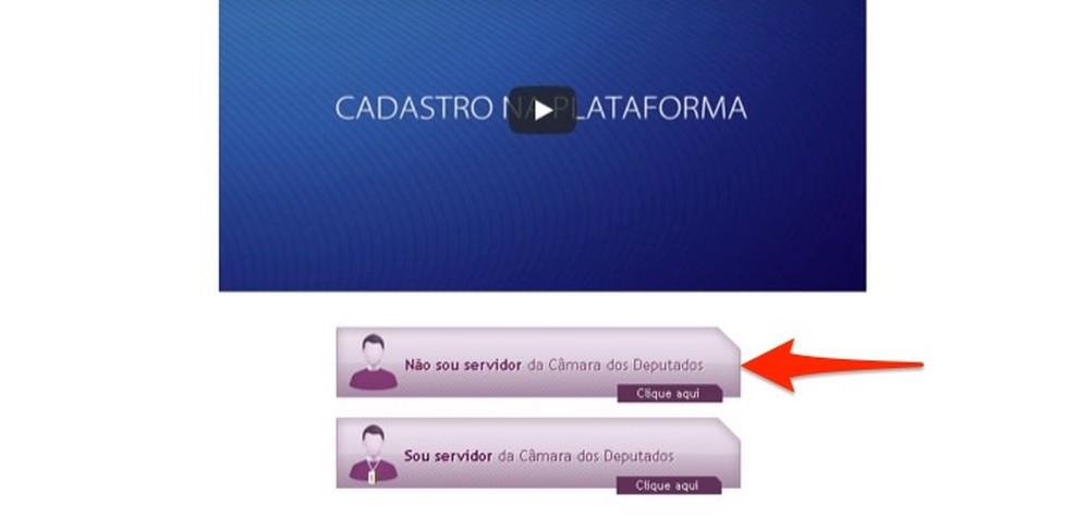 Ação para abrir a tela de cadastro do site de cursos da Câmara de Deputados Federais — Foto: Reprodução/Marvin Costa