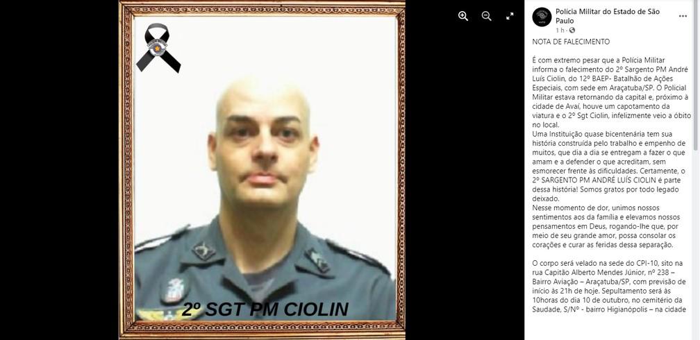 Sargento da PM morreu em acidente em Avaí, no interior de SP — Foto: Reprodução/Facebook/Polícia MIlitar