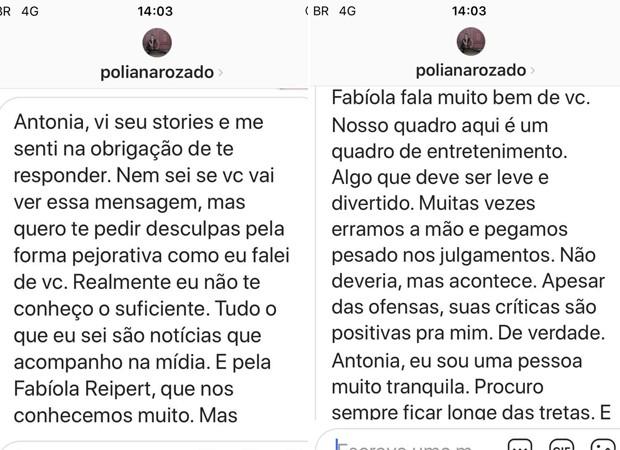Poliana Rozado procura Antonia Fontenelle e pede desculpas por se exceder no programa (Foto: Reprodução/Instagram)