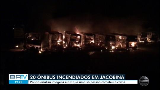Polícia apura incêndio que destruiu cerca de 20 ônibus em garagem de empresa em Jacobina