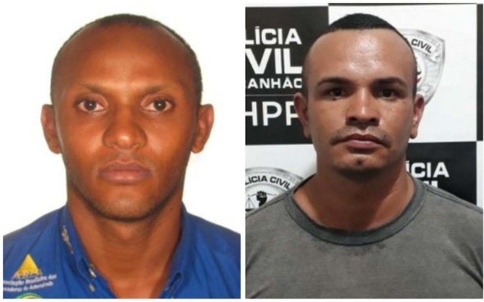 PM Hamilton Caires Linhares (esquerda) e vigilante Evilásio Lemos (direita) são acusados de matar três jovens na zona rural de São Luís — Foto: Divulgação