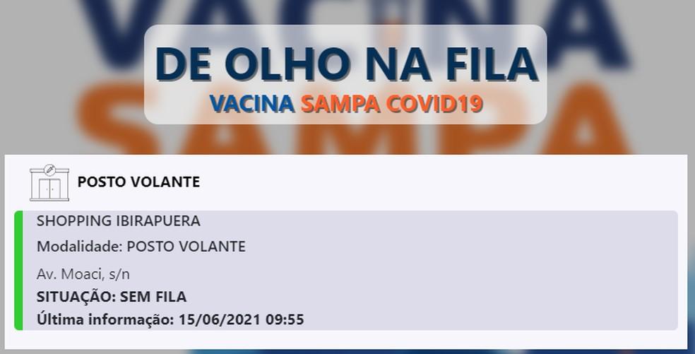 """""""Filômetro"""" mostra estágio da espera por vacinação contra Covid-19 em posto volante da capital, na manhã desta terça (15) — Foto: Reprodução/ Prefeitura de SP"""
