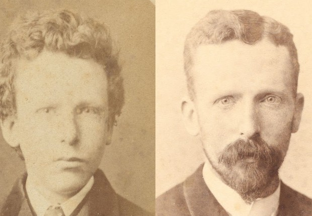 Imagem à esquerda era, até então, identificada como sendo de Vincent van Gogh, aos treze anos. Depois de pesquisa, foi identificada como Theo van Gogh, aos 15 anos. O irmão do pintor aparece na imagem à direita, aos 32 anos (Foto: Fundação Vincent van Gogh)