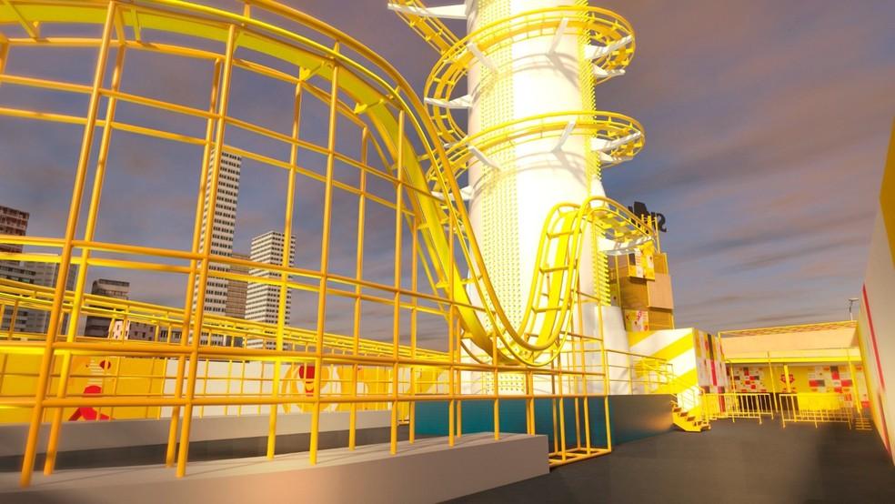 426d5b05a95 ... Projeção em 3D mostra como será a montanha-russa que a Skol vai levar  para