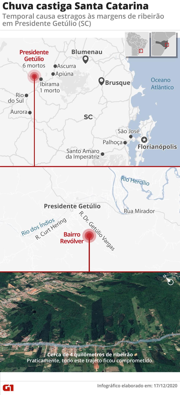 Região de enxurrada em Presidente Getúlio, SC — Foto: Arte/G1