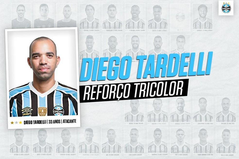 Diego Tardelli foi anunciado pelo clube gaúcho — Foto: Reprodução