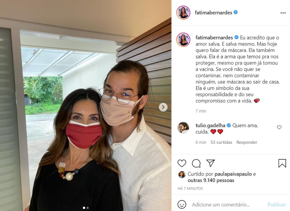 Fátima Bernardes fez post pedindo que as pessoas continuem usando máscaras — Foto: Reprodução/Instagram/FátimaBernardes