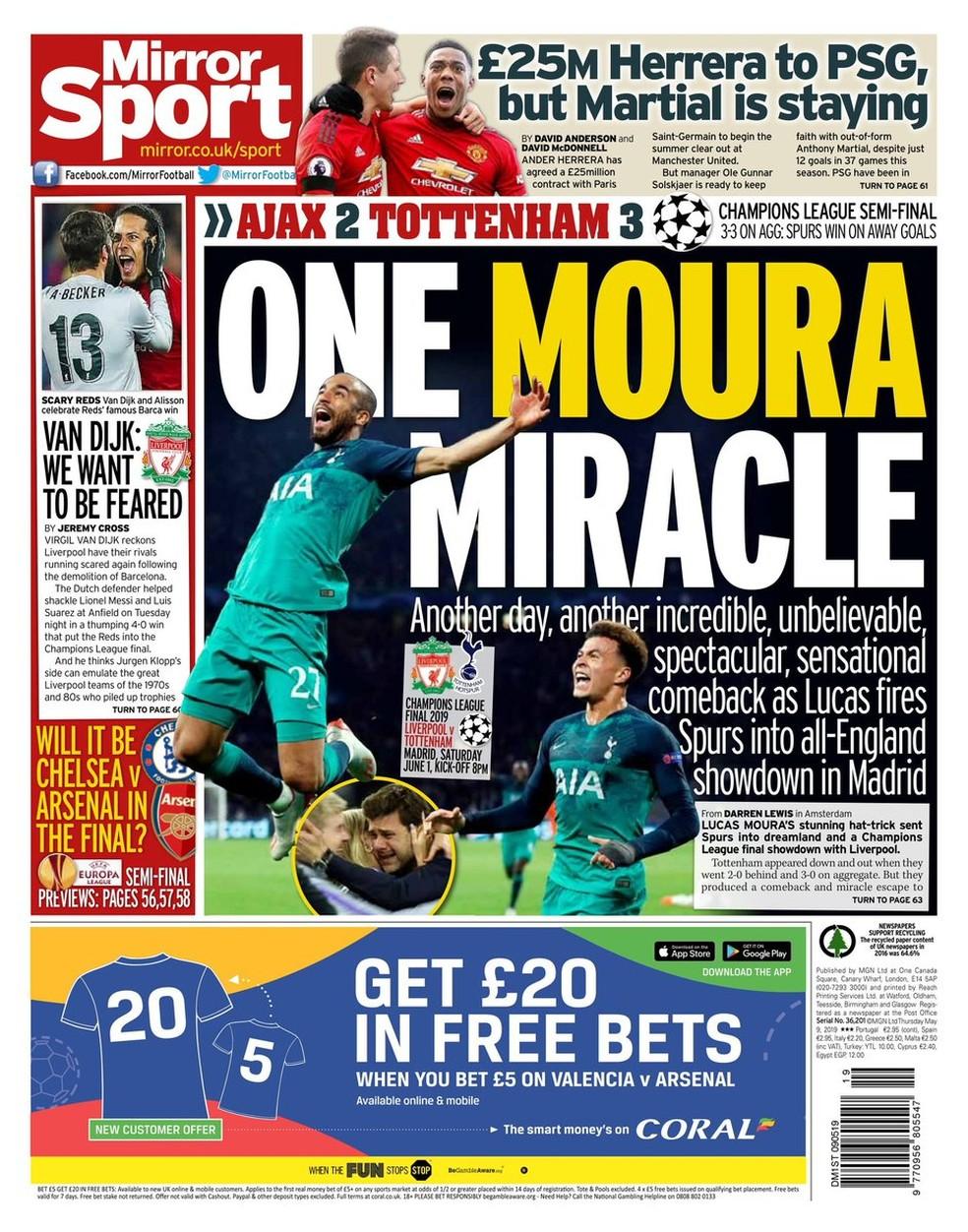 Daily Mirror faz referência a um novo milagre, um dia após a virada do Liverpool, agora com o sobrenome de Lucas — Foto: Reprodução/Daily Mirror