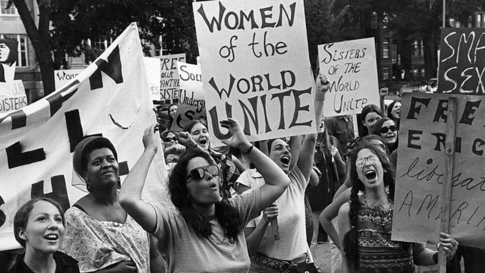 Manifestação do movimento pelos direitos das mulheres em Washington em 1970 — Foto: Don Carl Steffen/ Gamma-Rapho via Getty Images