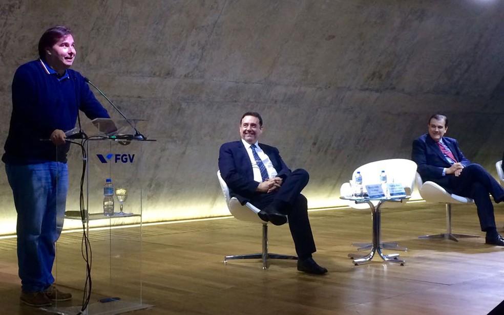 Presidente da Câmara durante evento na Fundação Getúlio Vargas no Rio (Foto: Gabriel Barreira / G1)