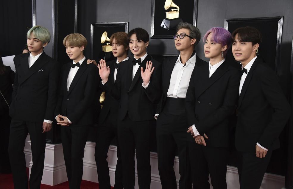 A banda sul-coreana BTS no Grammy 2019, em Los Angeles — Foto: Matt Winkelmeyer / GETTY IMAGES AMÉRICA DO NORTE / AFP Photo