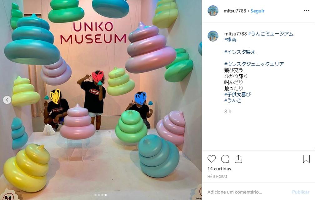 Visitantes tiram foto no Museu do Cocô, em Yokohama. — Foto: Reprodução/Instagram