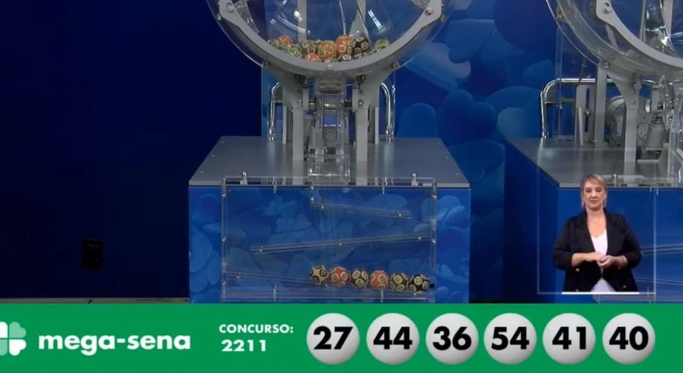 Resultado do concurso 2.211 da Mega-Sena — Foto: Reprodução Caixa