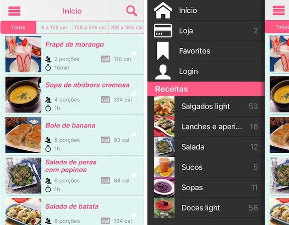 Guia da Cozinha Light é um app para emagrecer que oferece receitas light para dieta — Foto: Reprodução/Julia Marques