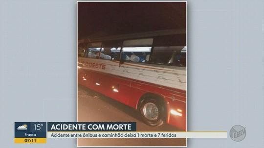 Caminhoneiro é suspeito de dirigir bêbado e atingir ônibus; 1 morre e 7 ficam feridos em Monte Azul Paulista