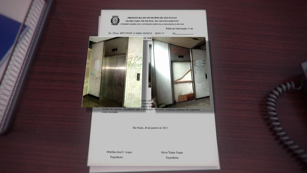 Documento da Prefeitura mostra irregularidades no prédio que desabou (Foto: TV Globo/Reprodução)