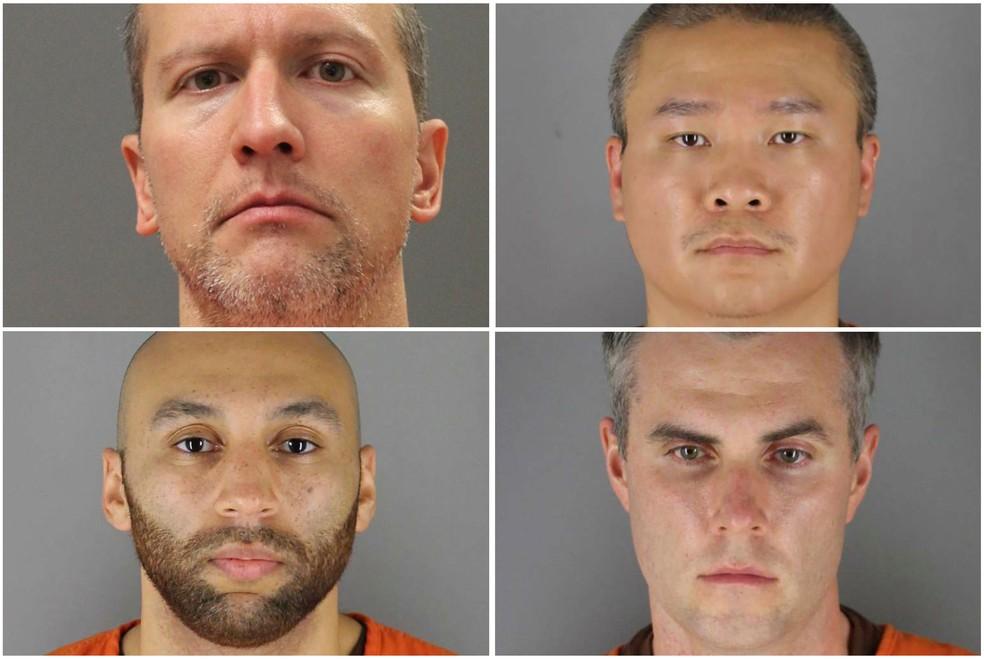 Os quatro ex-policiais acusados de envolvimento na morte de George Floyd: da esquerda para a direita, Derek Chauvin, Tou Thao (acima) e J. Alexander Kueng e Thomas Lane (abaixo) — Foto: MinnesotaDepartment of Corrections and Hennepin County Sheriff's Office/Handout via Reuters.