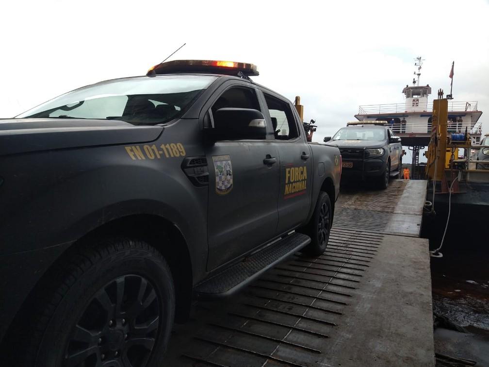 Tropas foram enviadas após uma série de ataques de criminosos serem registradas na cidade e em municípios do interior desde o fim de semana.— Foto: Paulo Frazão/Rede Amazônica