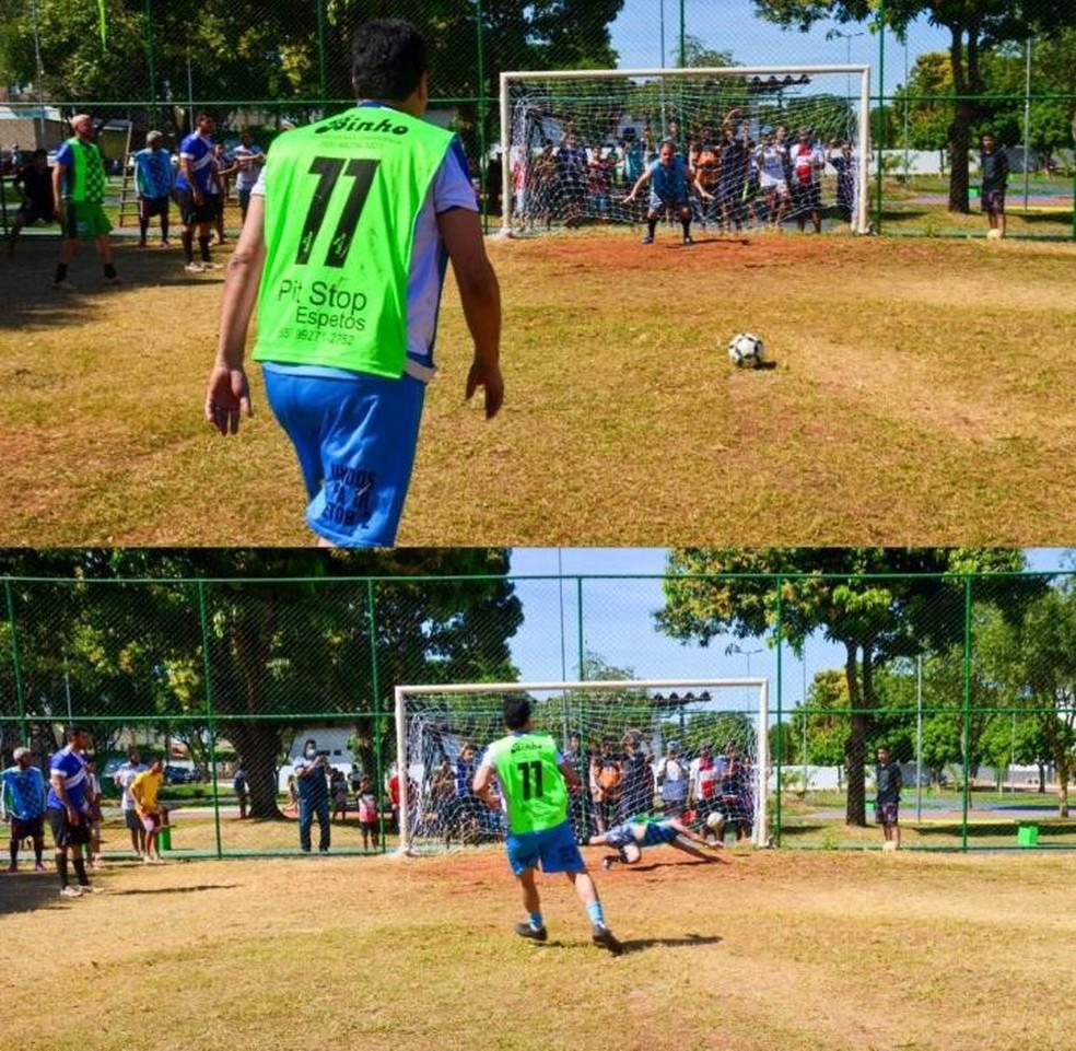 Prefeito jogou em inauguração de campo de futebol — Foto: Reprodução