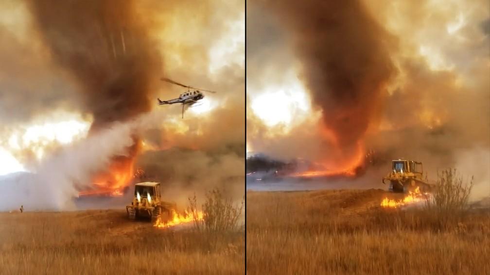 Tornado de fogo é registrado na Califórnia em 29 de agosto de 2021 — Foto: Reprodução