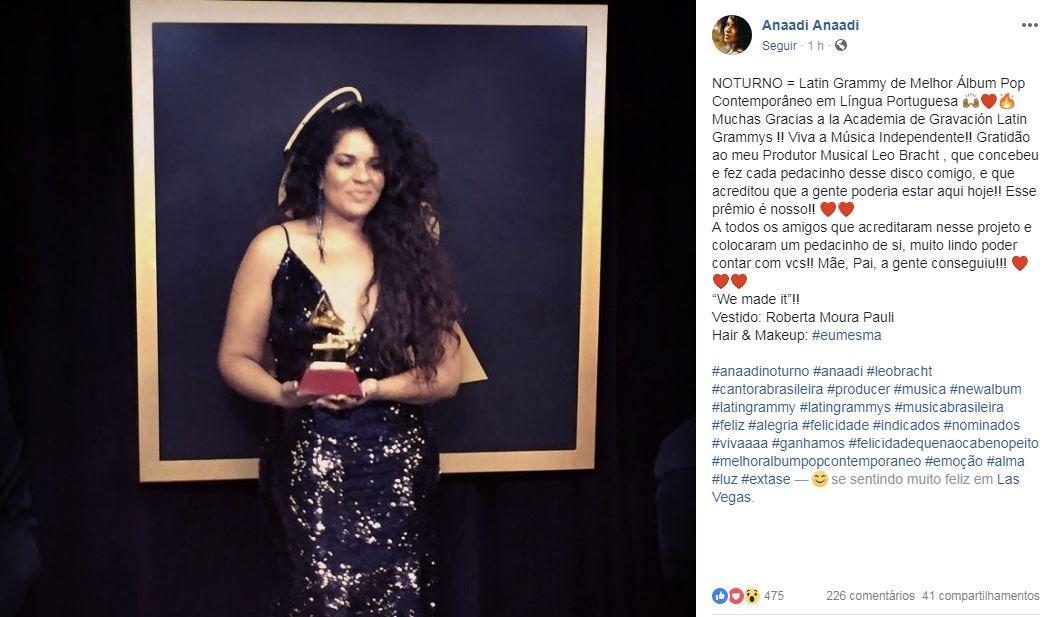 Anaadi recebe Grammy Latino 2018 pelo álbum 'Noturno' em premiação em Las Vegas - Radio Evangelho Gospel